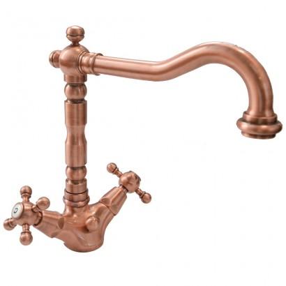 Miscelatore per lavabo ramato Porta&bini serie OLD FASHION rubinetto classico e Vintage e Retrò a bocca girevole originale Po...