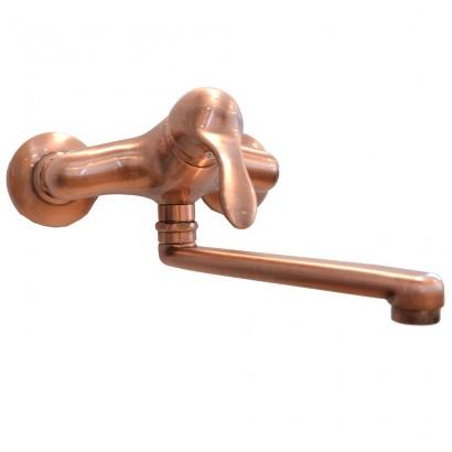 Miscelatore per lavello ramato Porta&bini serie DUNA rubinetto classico e Vintage e Retrò a muro originale Porta&bini in vend...
