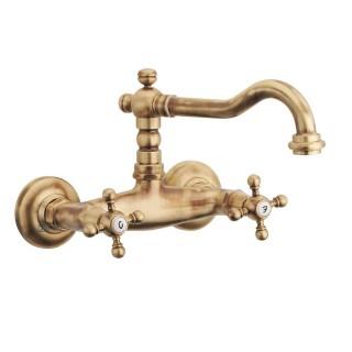 Miscelatore per lavello bronzato Porta&bini serie OLD FASHION rubinetto classico e Vintage e Retrò a muro canna alta original...