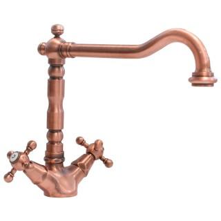 Miscelatore per lavello ramato Porta&bini serie OLD FASHION rubinetto classico e Vintage e Retrò da cucina monoforo originale...
