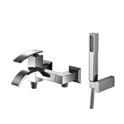 Miscelatore per vasca cromato Hego serie IO Quadro rubinetto moderno con supporto fisso e doccetta Duplex originale Hego in v...