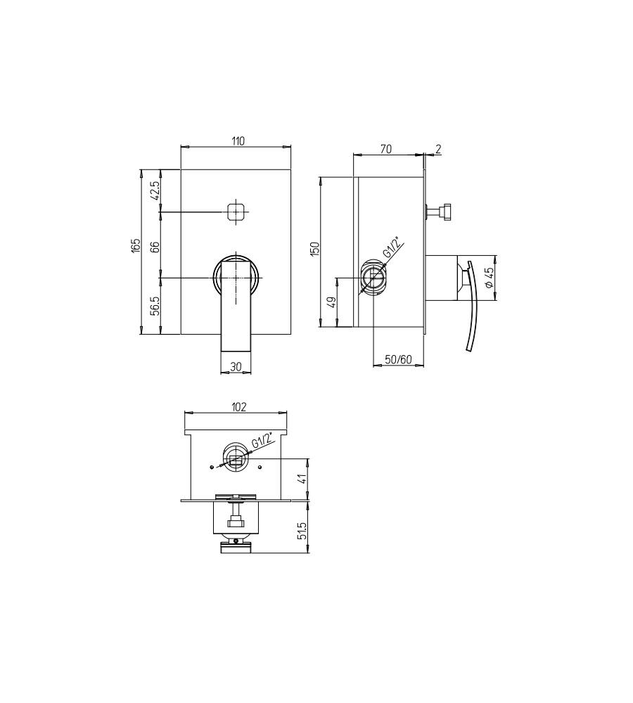 Miscelatore per doccia cromato Hego serie IO Quadro rubinetto moderno da incasso con deviatore automatico