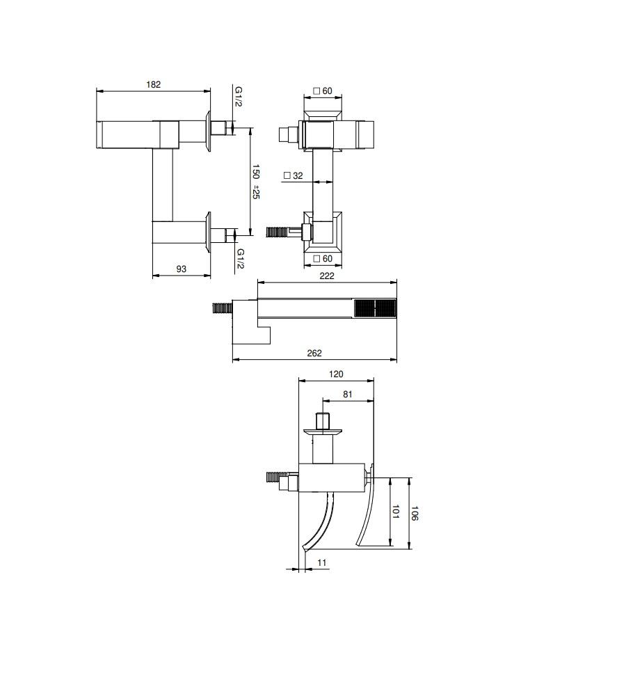 Miscelatore per vasca cromato Hego serie IO Quadro rubinetto moderno con supporto fisso e doccetta Duplex