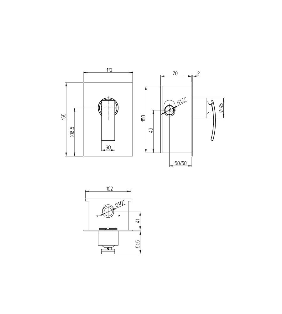 Miscelatore per doccia cromato Hego serie IO Quadro rubinetto moderno da incasso