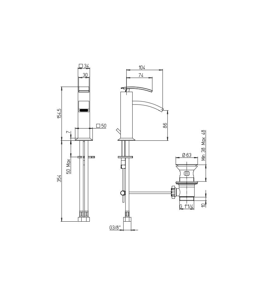 """Miscelatore per lavabo cromato Hego serie IO Quadro rubinetto moderno con attacco piletta 1"""" 1/4"""