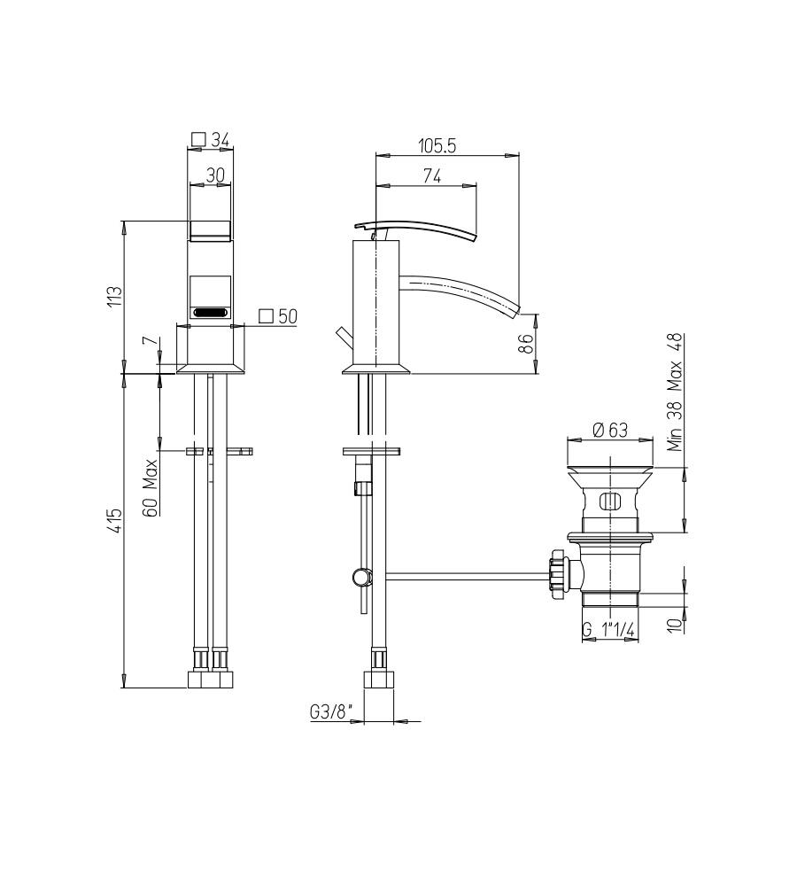 """Miscelatore per bidet cromato Hego serie IO Quadro rubinetto moderno con attacco piletta 1"""" 1/4"""