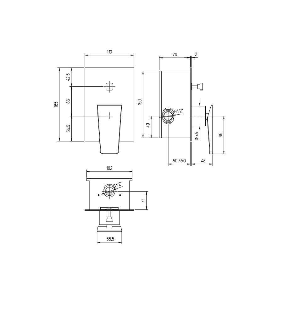 Miscelatore per doccia cromato Hego serie LAMA rubinetto moderno da incasso con deviatore automatico