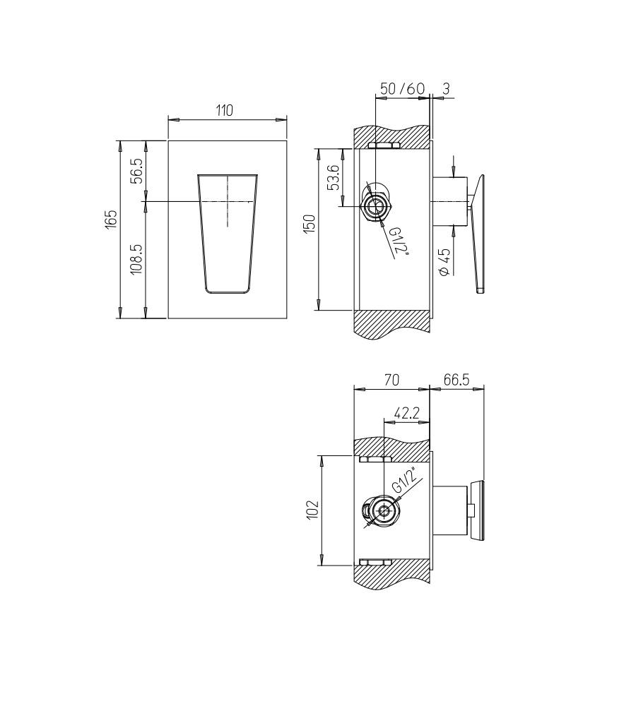 Miscelatore per doccia cromato Hego serie LAMA rubinetto moderno da incasso