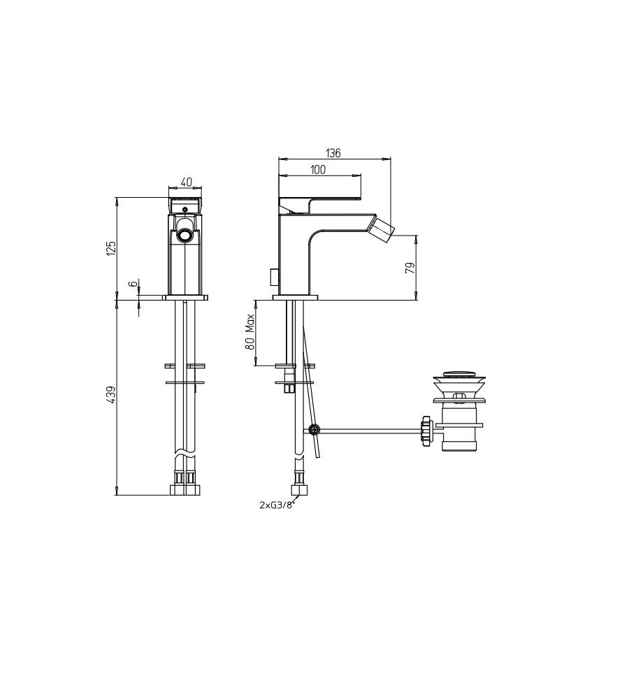 """Miscelatore per bidet cromato Hego serie LAMA rubinetto moderno con attacco piletta 1"""" 1/4"""