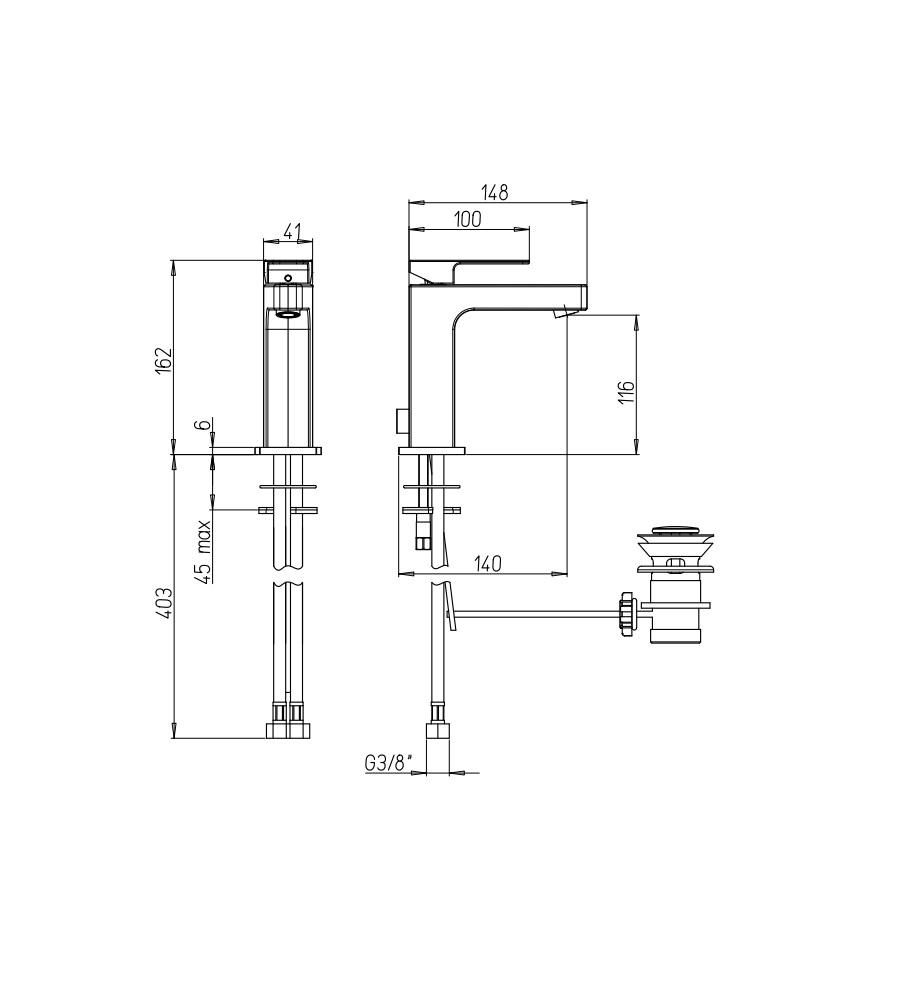 """Miscelatore per lavabo cromato Hego serie LAMA rubinetto moderno con attacco piletta 1"""" 1/4"""