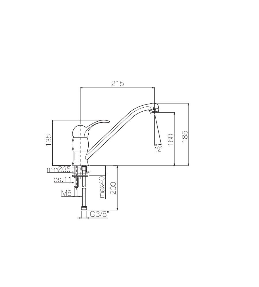 Miscelatore per lavello bronzato Porta&bini serie DUNA rubinetto classico e Vintage e Retrò a bocca girevole