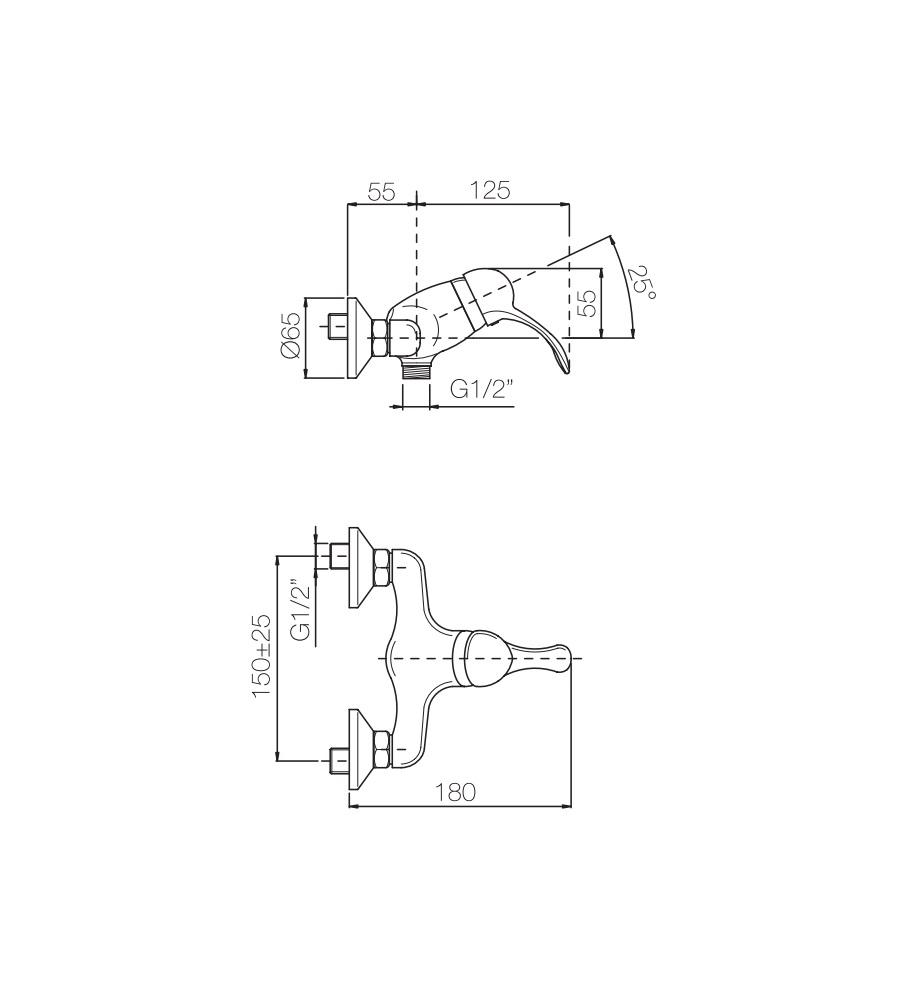 Miscelatore per doccia ramato Porta&bini serie DUNA rubinetto classico e Vintage e Retrò esterno