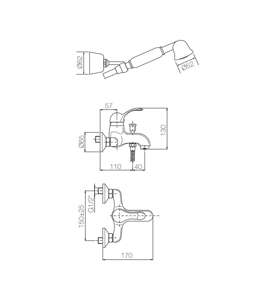 Miscelatore per vasca cromato Porta&bini serie DUNA rubinetto classico e Vintage e Retrò esterno