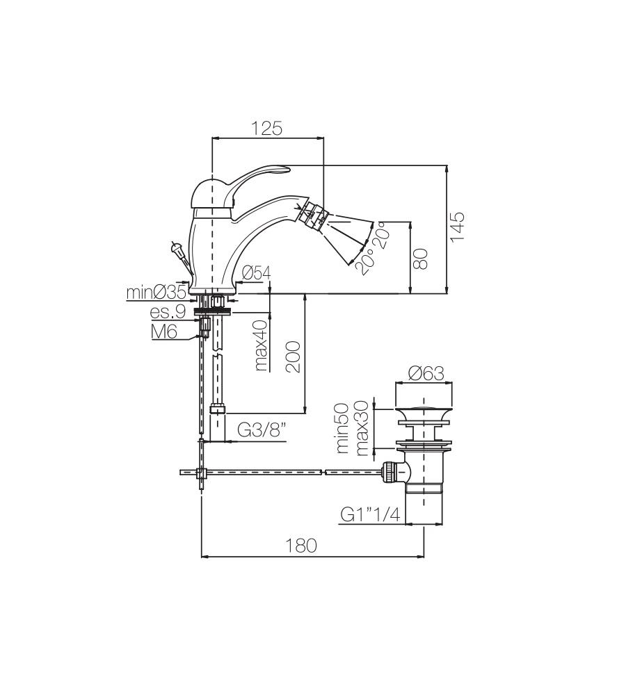 Miscelatore per bidet ramato Porta&bini serie DUNA rubinetto classico e Vintage e Retrò