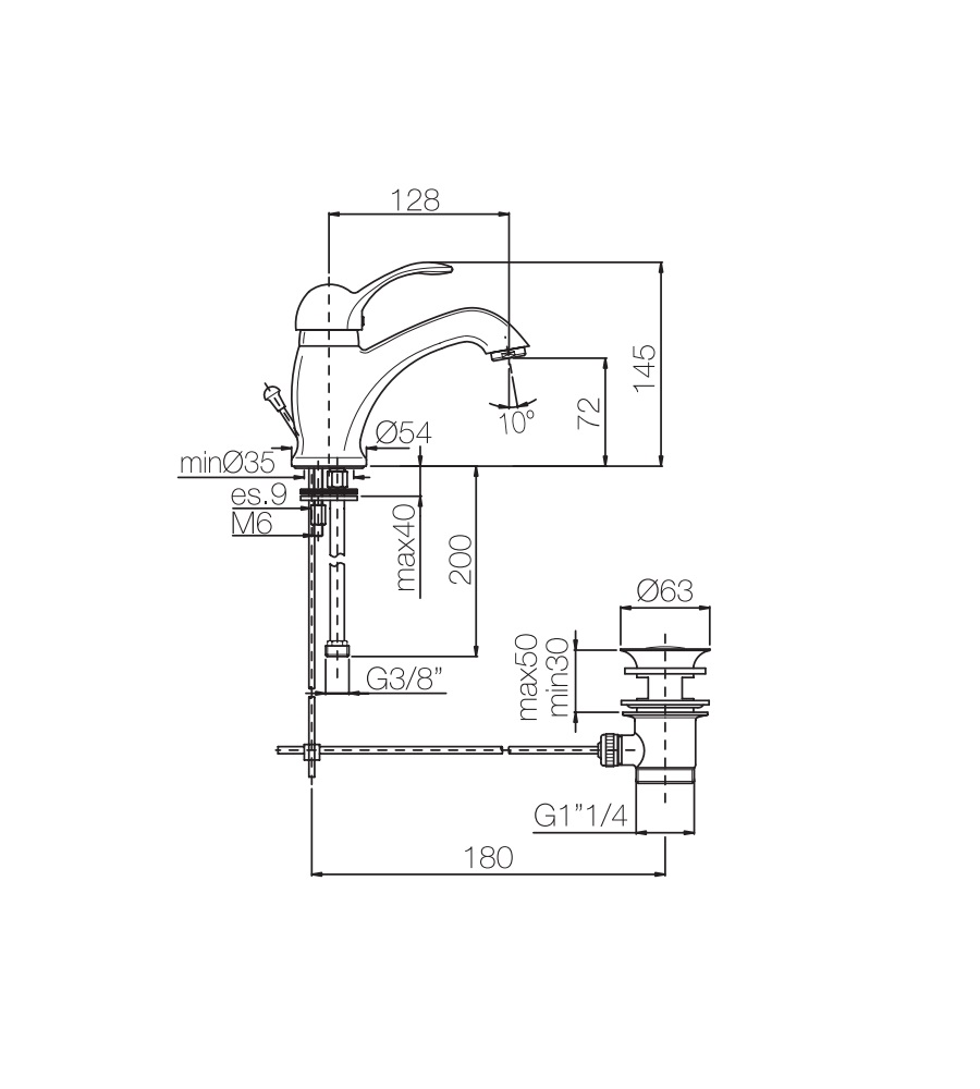 Miscelatore per lavabo cromato Porta&bini serie DUNA rubinetto classico e Vintage e Retrò