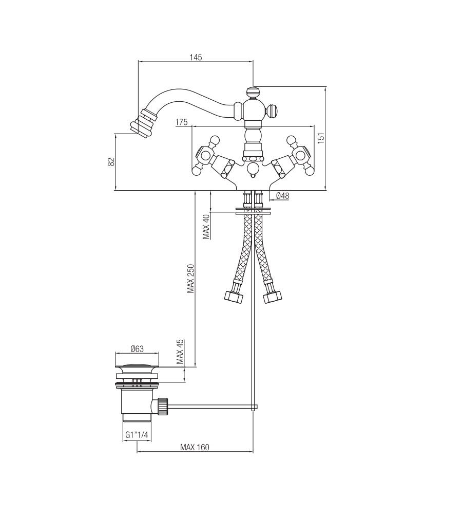 Miscelatore per bidet cromato Porta&bini serie OLD FASHION rubinetto classico e Vintage e Retrò a bocca girevole