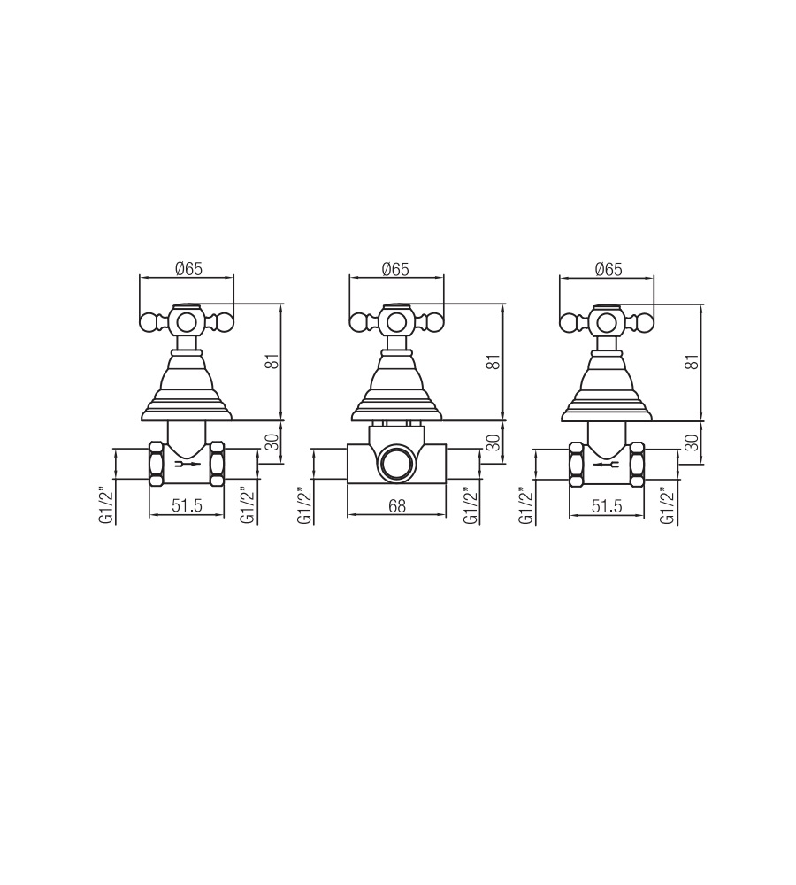 Miscelatore per doccia ramato Porta&bini serie OLD FASHION rubinetto classico e Vintage e Retrò da esterno duplex