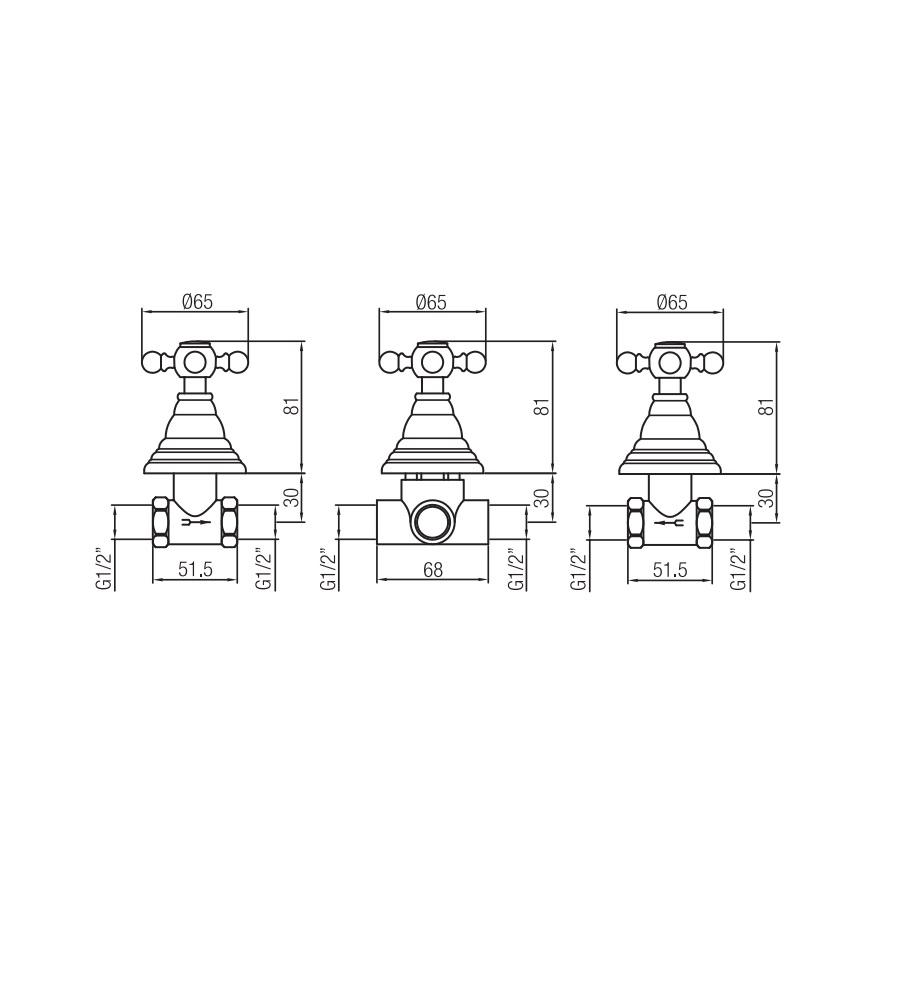Miscelatore per doccia ramato Porta&bini serie OLD FASHION rubinetto classico e Vintage e Retrò da incasso con deviatore